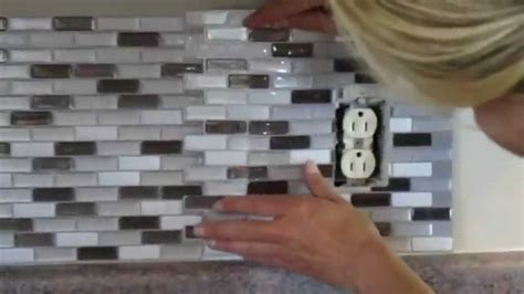 Easy To Install Backsplashes For Kitchens how to cut peel and stick smart tiles around an electrical
