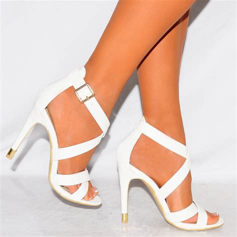 high strappy heels white pu leather strappy open toe stiletto high