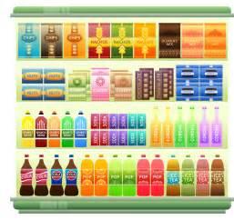 supermarkt regale illustration supermarket shelf products snacks