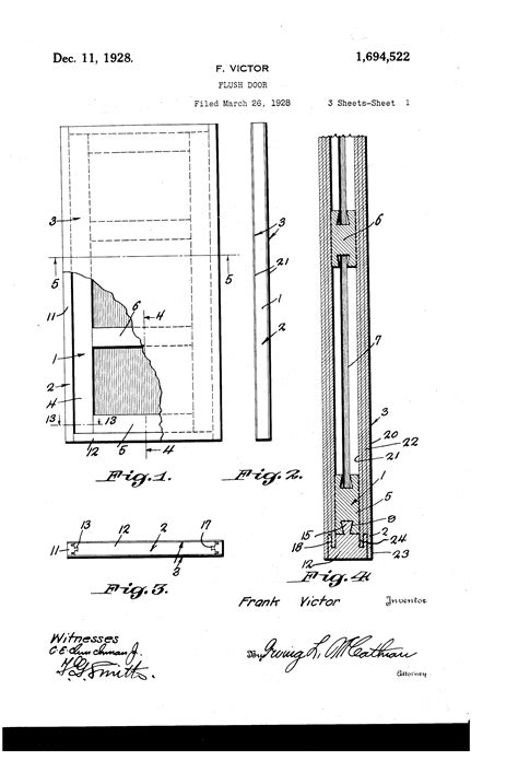 flush door section patent us1694522 flush door google patents