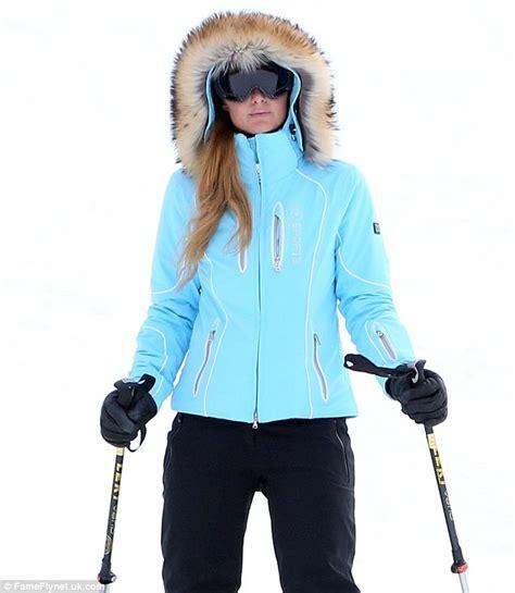 light blue womens ski jacket paris hilton bundles up in blue fur trimmed jacket as she
