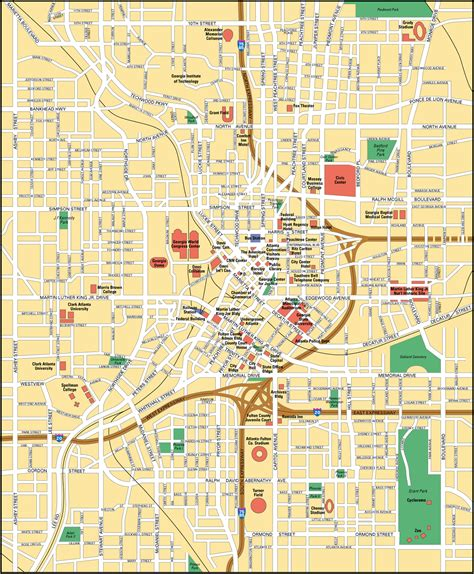 atl map map of atlanta city maps of united states planetolog
