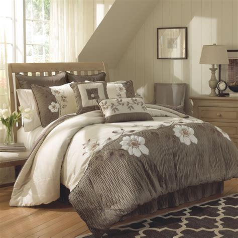 ca king comforter sets gray cream bedding set with white floral pattern placed on