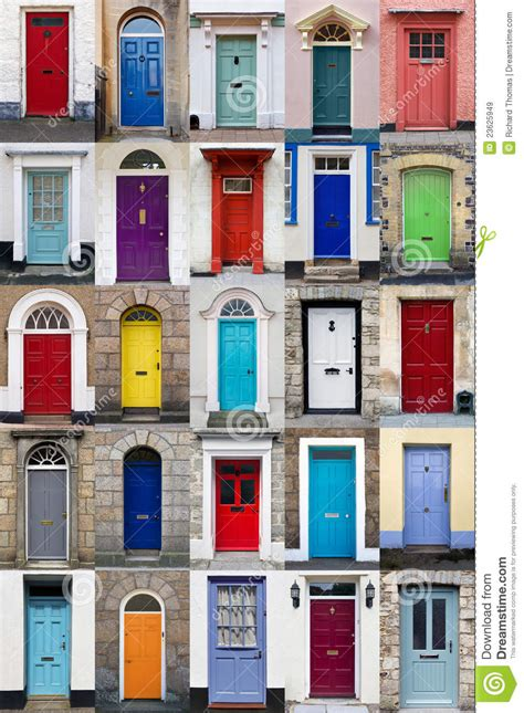 colorful doors vertical photo collage of 25 front doors stock image
