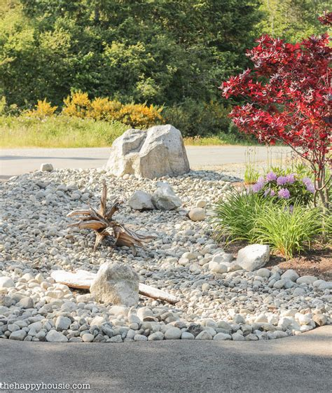 rock bed landscaping with river rock dry river rock garden ideas