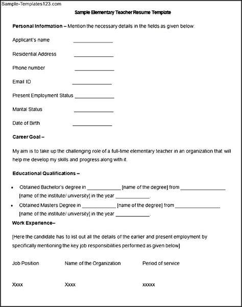 resume exles elementary school sle resume for in elementary sle elementary cover letter
