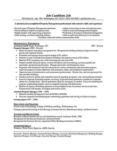 Property Manager Assistant Sle Resume by Assistant Property Manager Resume Template Resume Builder