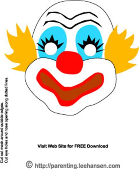 clown mask template masks for circus