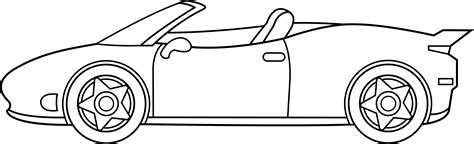 cartoon sports car black and white ferrari line art free clip art