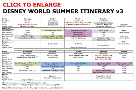 disney world itinerary template calendar template 2016