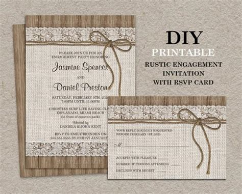 Free Rustic Chic Templates For Rsvp Cards by Rustic Engagement Invitation With Rsvp Card Diy