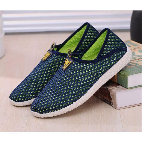 Sepatu Mesh sepatu slip on mesh pria size 43 green blue