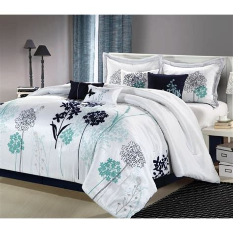 bedspread and comforter sets 8pc luxury bedding set white navy teal bedding