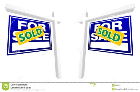 blue house realty blue sold home for sale real estate sign on white stock