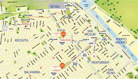 buenos aires map free tours in buenos aires