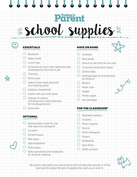 Printable School Supplies Checklist School Checklist Template