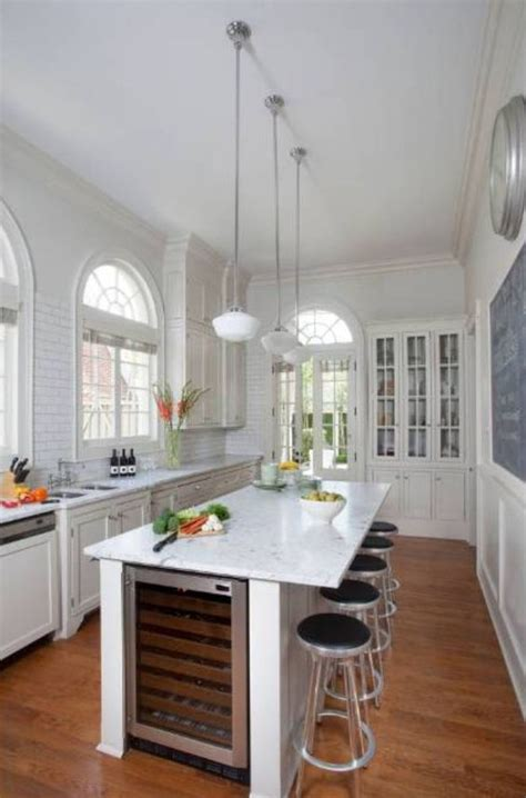 long narrow kitchens design pictures remodel decor and contemporary kitchen design using wooden floor and white
