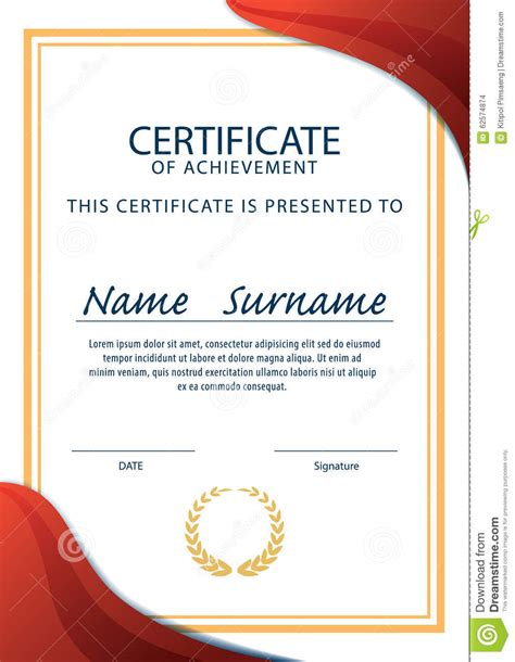 certificate template diploma a4 size vector stock vector