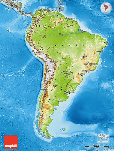 south america physical political map physical map of south america semi desaturated land only