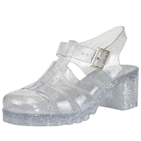 jelly sandals womens womens closed toe ankle platform chunky heel glitter