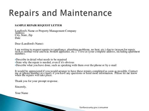 Exle Of Request Letter For Repair What Tenants Need To In Fairfax County