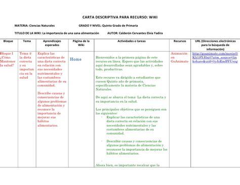 ejemplo de cartas descriptivas de educacion preescolar carta descriptiva wiki personal