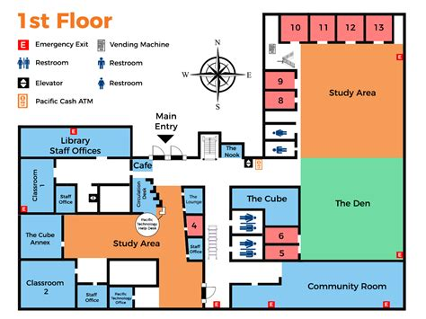 library floor plans kettering college library floor maps