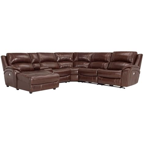 power reclining sectional with chaise city furniture memphis medium brown leather left chaise