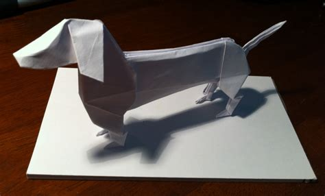 Origami Sausage - 290 dachshund setting the crease