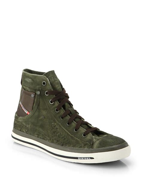 sneakers for diesel exposure high top sneakers in green for lyst