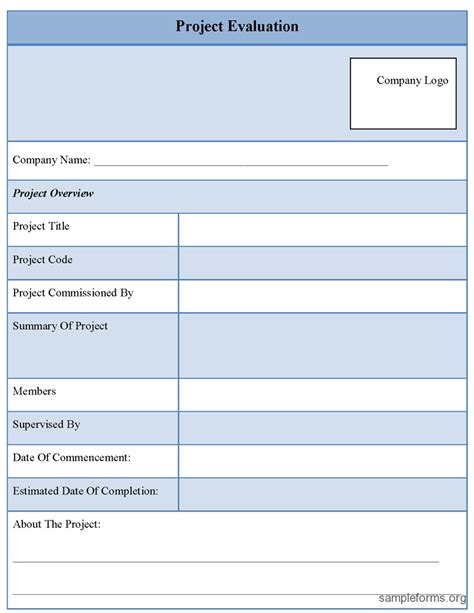 project evaluation form template project evaluation form sle forms