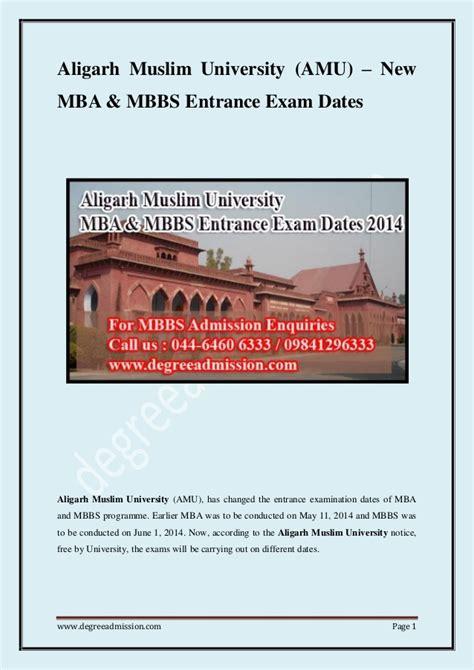 Amu Mba by Aligarh Muslim Amu Mba Mbbs Entrance Dates