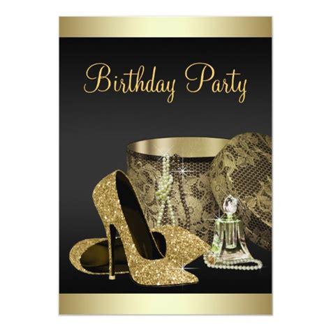 Pearls High Heel Shoes Black Gold Womans  Ee  Birthday Ee   Card