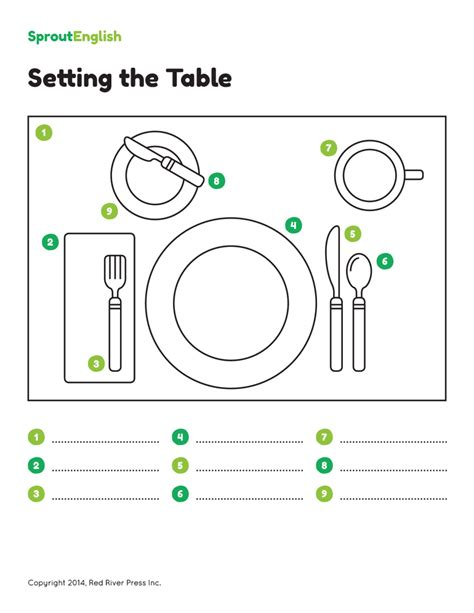 setting the table prepositions of time and place images