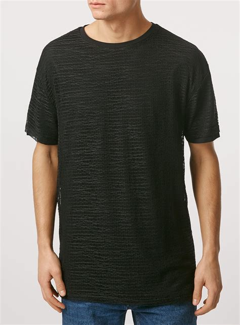 Sleeve Mesh T Shirt lyst topman sleeve mesh t shirt in black for