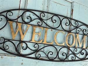 welcome sign metal wall decor by camillacotton on etsy