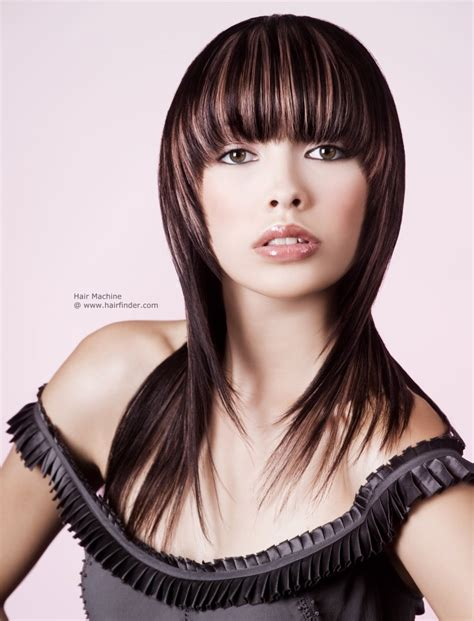 how to cut hair with rounded corners in back long single length haircut fringe cut horizontal with