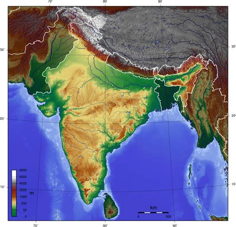 geographical map of india topographic blank map maps of india