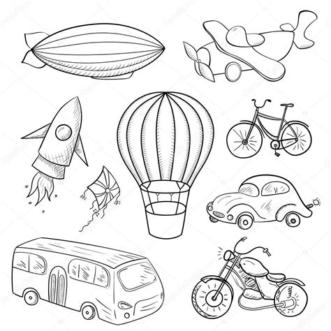 air transportation coloring pages preschool sketches means of transport stock vector 169 meowudesign