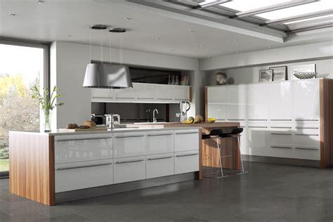 white gloss and wood kitchen helsinki island style kitchen white with wood top ipc432