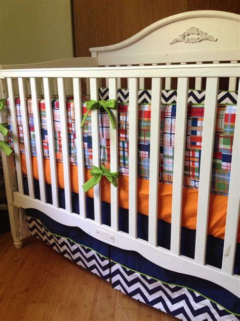 4pc made to order plaid and chevron boy crib bedding set