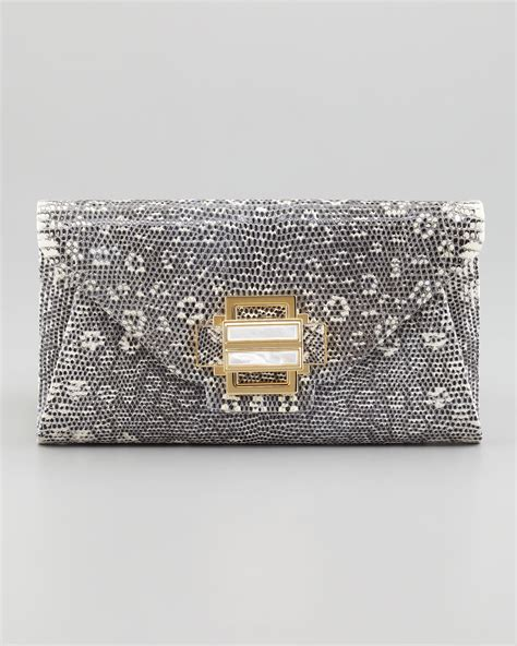 Lizard Ostrich Clutch By Kara Ross by Kara Ross Electra Lizard Clutch Bag In Gray Lyst