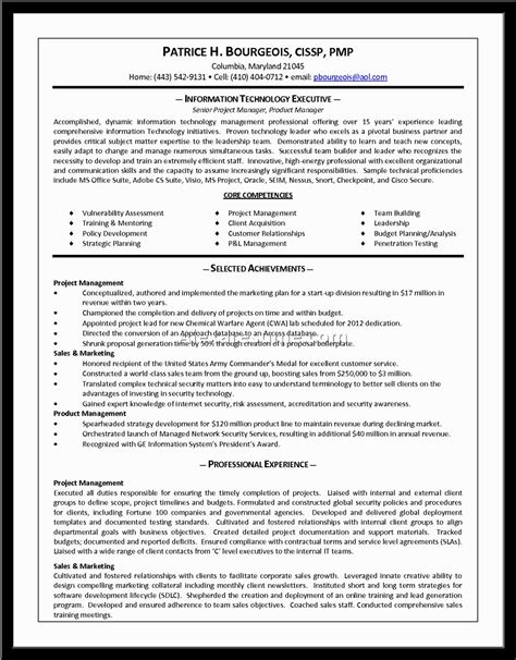 product manager resume sle sle resume product manager it network manager resume