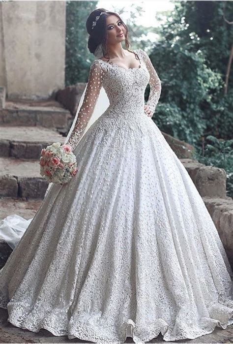 Beautiful Bridal Gowns by Beautiful Sleeve Lace 2018 Wedding Dress Gown