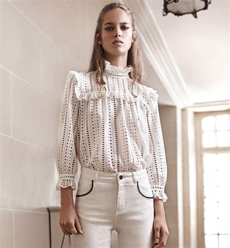 www volante it la blouse romantique chic en broderie anglaise avec col