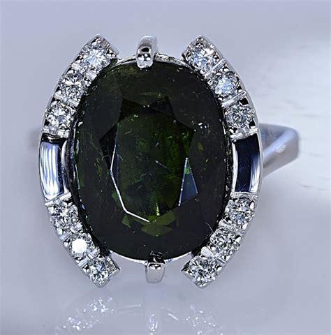 Green Tourmaline 5 25 Ct 8 39 ct green tourmaline with diamonds ring no reserve