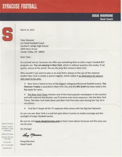 College Letter For Recruiting Qb Family Letters Of Recruitment Ty Edmond