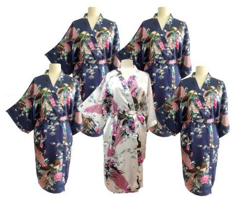 Hem List Flower Silky Bkk 90000 sale set 5 kimono robes bridesmaids silk satin 1 white 4 navy blue color paint peacock design