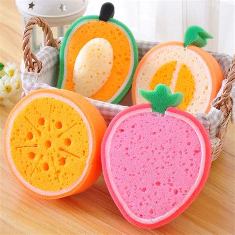 fruit dish cleaning sponge fruit shape sponge cleaning brush colorful scrubbers