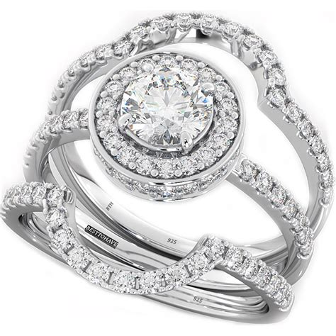 3piece ring cut cz halo design 3 genuine 925 sterling